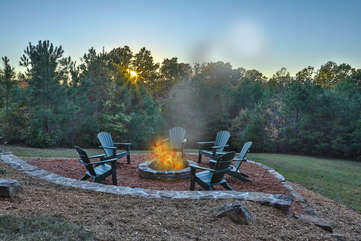 Enjoy s'mores at the back yard fire pit.