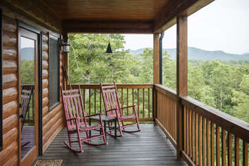 Enjoy a Relaxing Evening and rock away your cares from the Front Porch of the cabin