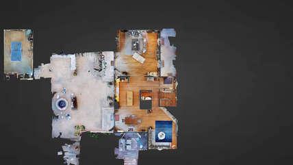 3-D virtual reality downstairs floor plan