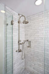 Refresh yourself in the marble-tiled shower upstairs
