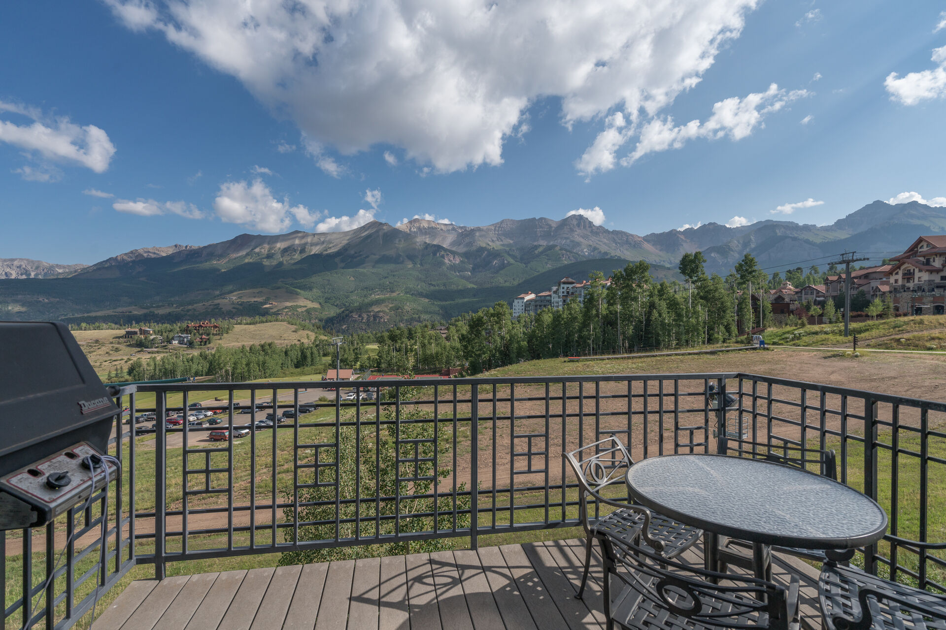Outdoor seating at this mountain village condo.