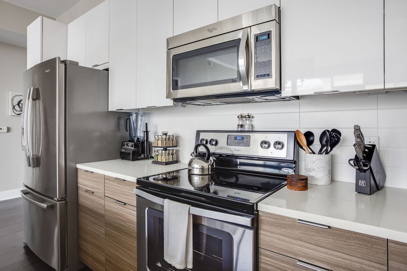 This Atlanta Vacation Rental features a kitchen with microwave, oven, and stove