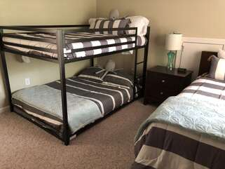 Full over Full bunk bed + single twin bed
