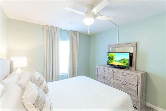 Guest Bedroom with Queen bed, closet & TV