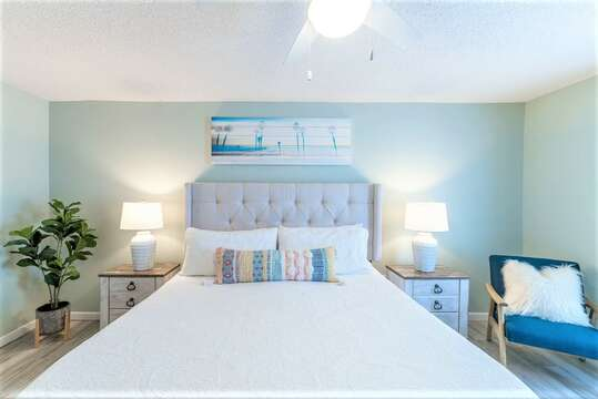 Beach serene master bedroom - unwind after a busy day at the beach!