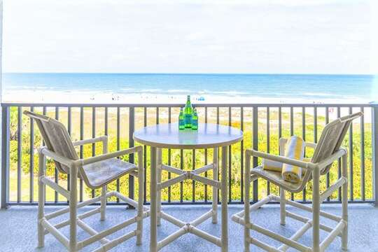 Private direct oceanfront top floor balcony with high top table to enjoy food and drinks overlooking the ocean!