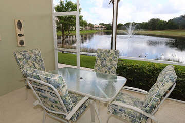 Enjoy every meal with a view with this patio dining table