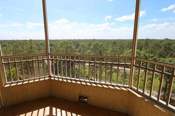 Screened in patio with a wonderful view