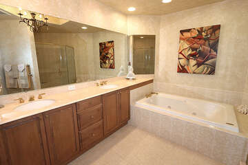 Double sink master bath with jetted tub
