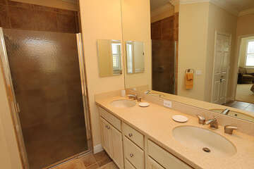 Double sink and walk in shower in the master bath
