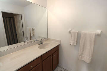 Guest bathroom with expansive counter space