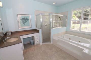 Huge master bathroom with a walk in shower and jetted tub