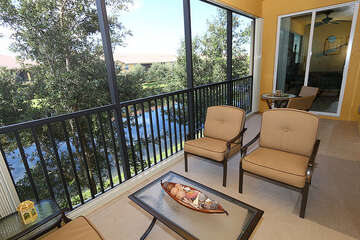 Expansive screened in patio with great view
