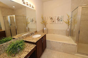 Gorgeous master bathroom with a garden tub and walk in shower