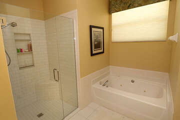 Great walk in shower and jetted tub