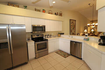 Gorgeous open kitchen with stainless steel appliances