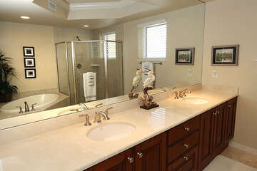 Double sinks and expansive vanity