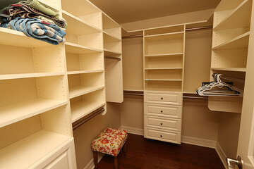 Plenty of storage space in this master closet