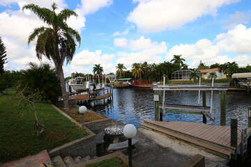 Canal with dock & boat lift
