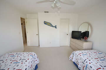 Twin Guest Bedroom with TV
