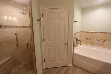 Master Bathroom with soaking tub,  walk in shower and double sinks