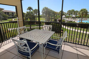 Screened lanai offers views to both the pool and Gulf of Mexico!