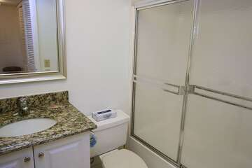 Guest bathroom very nice and clean.