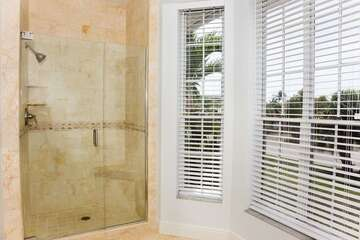 Easy access shower also in master bath.