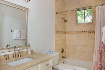 Guest bathroom offers privacy.