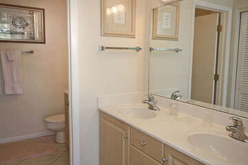 Nicely updated master bathroom with enough room for his and her areas!