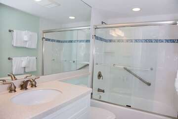 Guest Bathroom with bathtub and grab bar