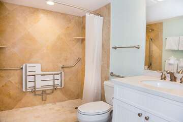 Master Bathroom with open shower, seat and grab bars