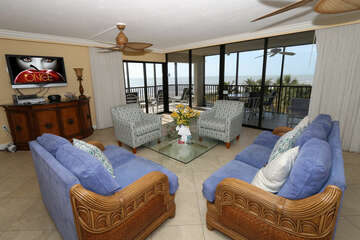 Living area with gulf front views