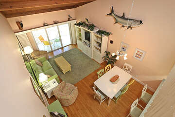 Loft overlooking the living and dining area.