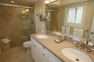 Mater bathroom new and updates with easy access shower.