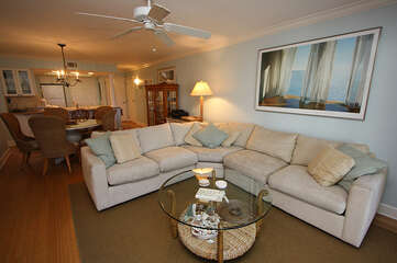 Living area with large comfortable sofa.