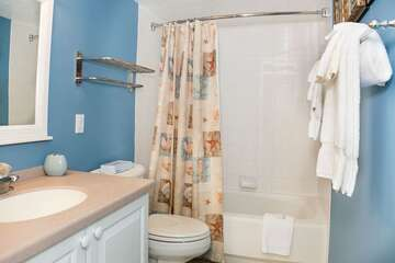 Large master bathroom has all the comforts of home!