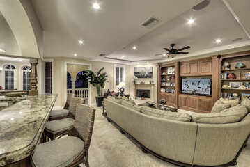 Spacious living room for family gathering