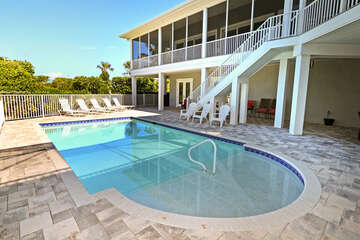 Pool and patio area with Gulf view!
