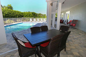 Patio sitting area is perfect for daytime picnics or cookouts!