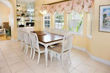 Plenty of room around this dining table for the family to dine and talk!