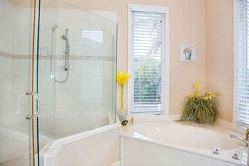 Large walk in shower with easy access.