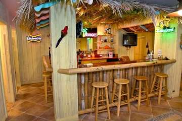 Indoor tiki bar complete with TV and neon signs.
