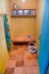 There are 2 dressing rooms as well as a bathroom with a walk-in shower.