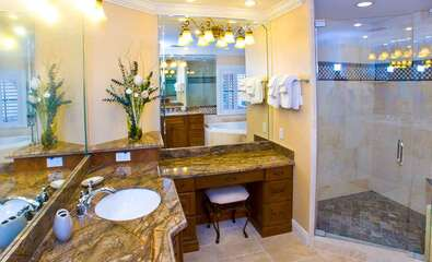En-suite Master Bathroom complete with Walk-in shower, Makeup area, Spa tub and 2 sinks.