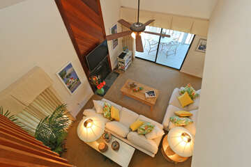 Aerial view of living areawith room for the entire family