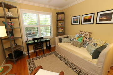 Den area is a comfortable place to relax after a long day on the beach!