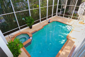 Above View of Pool and Hot Tub.