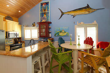 Beachy themed dining area is fun for mealtime!