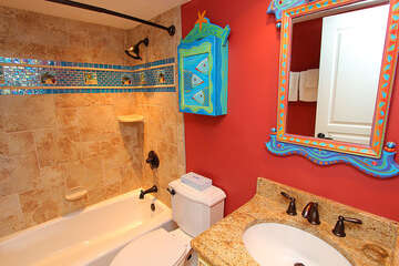 Whimsy guest bathroom.